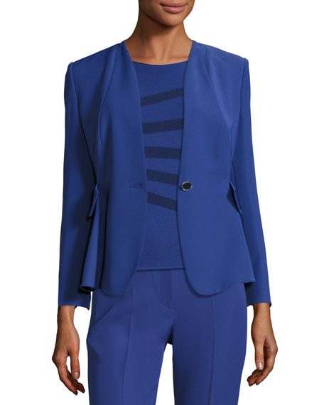 Armani Collezioni Techno Cady One-Button Jacket, Blue Violet