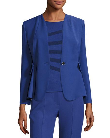 Techno Cady One-Button Jacket, Blue Violet