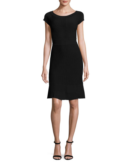 Armani Collezioni Cross-Piping Knit Cap-Sleeve Dress, Black