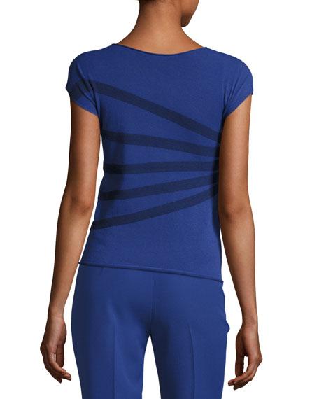 Striped Bateau-Neck Tee, Blue Violet/Multi