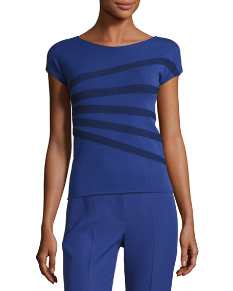 Armani Collezioni Striped Bateau-Neck Tee, Blue Violet/Multi