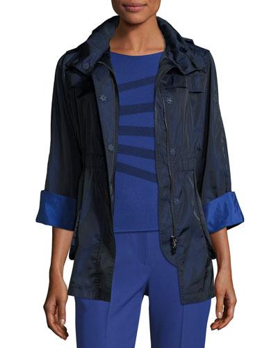 Bicolor Nylon Anorak Jacket, Navy/Blue Violet