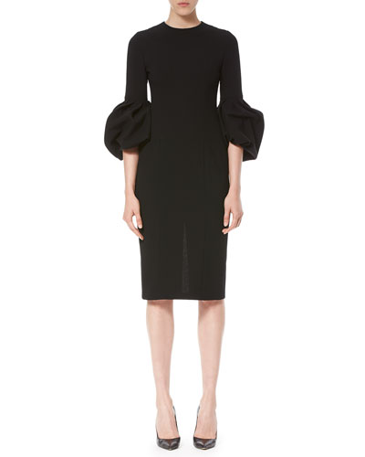 Bell-Sleeve Sheath Dress, Black