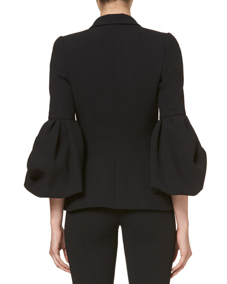 Carolina Herrera One-Button Bell-Sleeve Jacket, Black