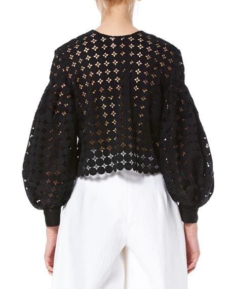 Crochet Balloon-Sleeve Jacket, Black Best Reviews