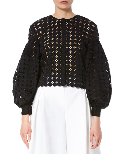 Crochet Balloon-Sleeve Jacket, Black