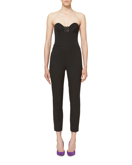 Carolina Herrera Floral-Appliqué Strapless Jumpsuit, Black