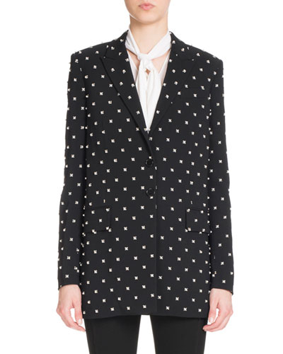 Pearly Lily-Print Two-Button Jacket, Black
