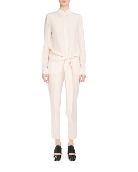Givenchy Button-Front Tie-Waist Blouse, Flesh