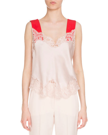 Satin Lace Cami w/Contrast Straps, Skin/Red