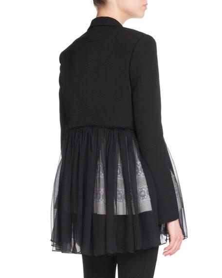 Pleated-Chiffon One-Button Jacket, Black