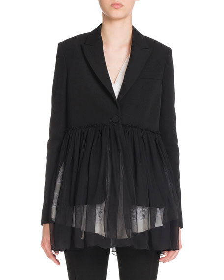 Givenchy Pleated-Chiffon One-Button Jacket, Black