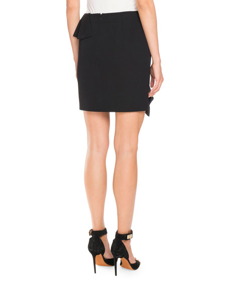 Double-Ruffle Wool Mini Skirt, Black
