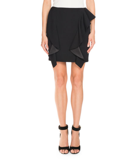 Givenchy Double-Ruffle Wool Mini Skirt, Black