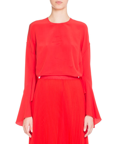 Red Long Sleeve Silk Dress by Givenchy