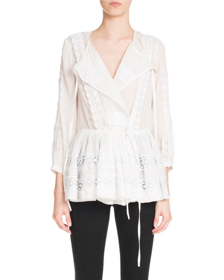 Givenchy Lace Layered Babydoll Blouse, White