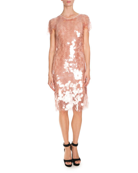 Large-Sequin Short-Sleeve Cocktail Dress, Skin