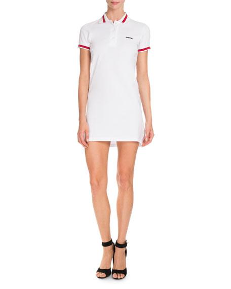 Givenchy Pique Knit Polo Dress, White