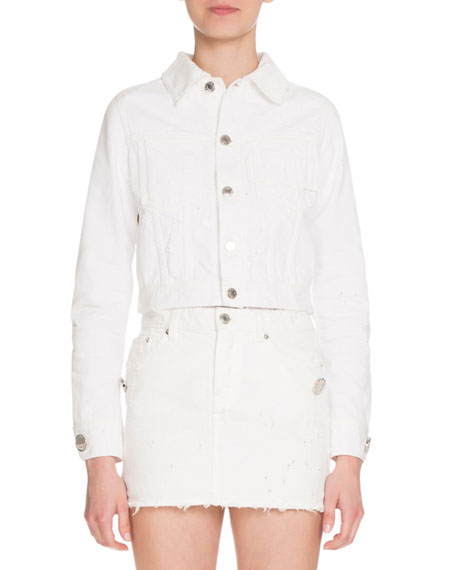 Distressed Denim Jacket, White