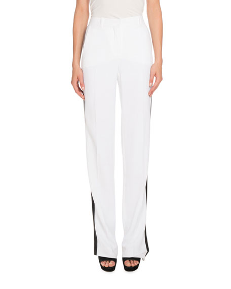 Givenchy Tuxedo-Stripe High-Waist Pants, White/Black