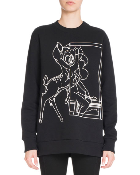 Bambi® Long Crewneck Sweatshirt, Black