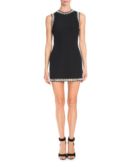 Givenchy Crystal-Trim Sleeveless Mini Dress, Black