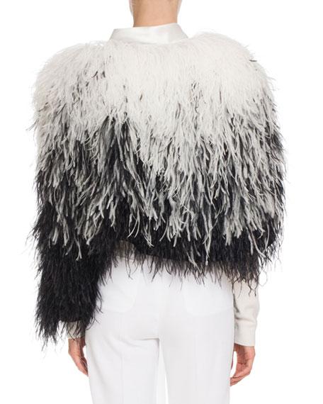 Ostrich-Feather Fur Cape, Black/White