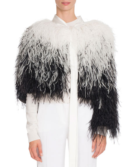 Givenchy Ostrich-Feather Fur Cape, Black/White