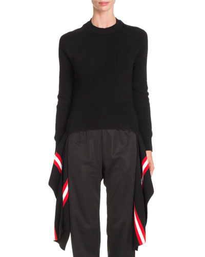 Deconstructed Striped Band Sweater, Black/Multi