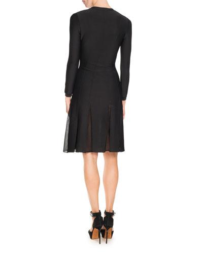 GIVENCHY Dresses BRACELET-SLEEVE PLEAT-ILLUSION DRESS, BLACK/MULTI