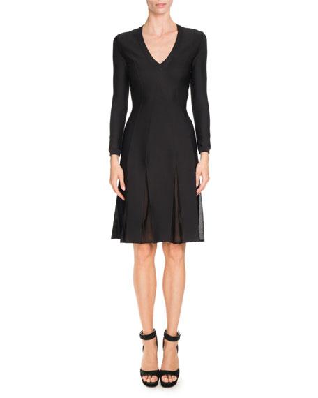 Givenchy Bracelet-Sleeve Pleat-Illusion Dress, Black/Multi