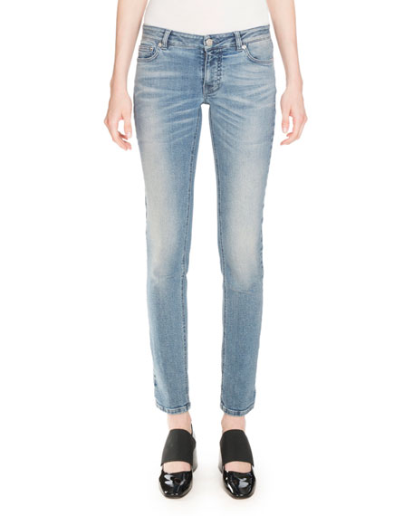 Givenchy Star-Print Straight-Leg Jeans, Blue