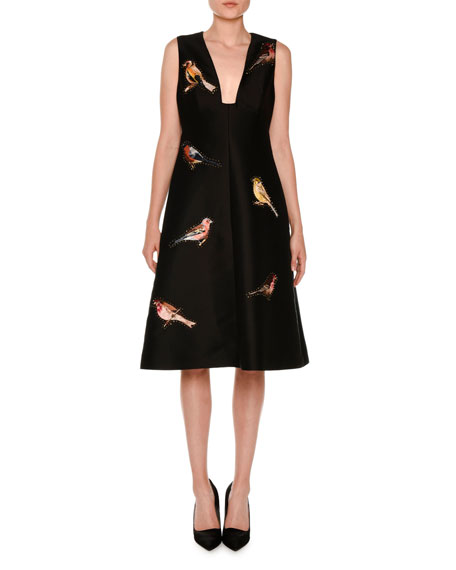 Stella McCartney Sleeveless Bird-Embroidered Dress, Black