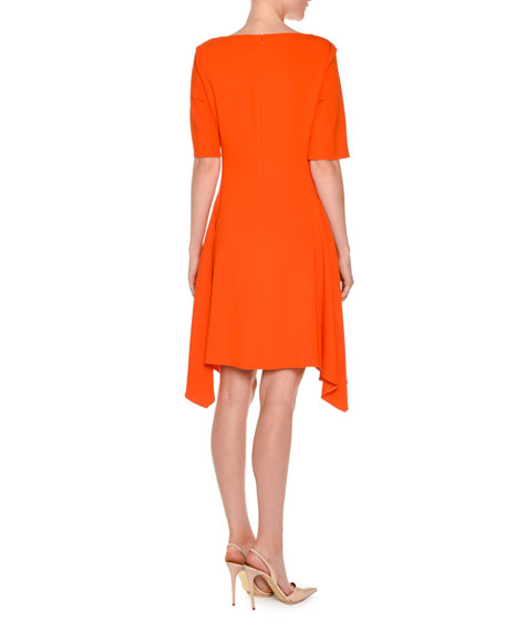 Short-Sleeve Boat-Neck Handkerchief-Hem Dress, Poppy