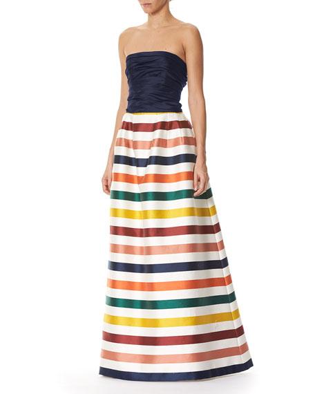 Striped Strapless Bustier Gown, Multi Stripe