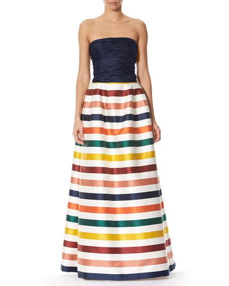 Striped Strapless Bustier Gown, Multi Stripe