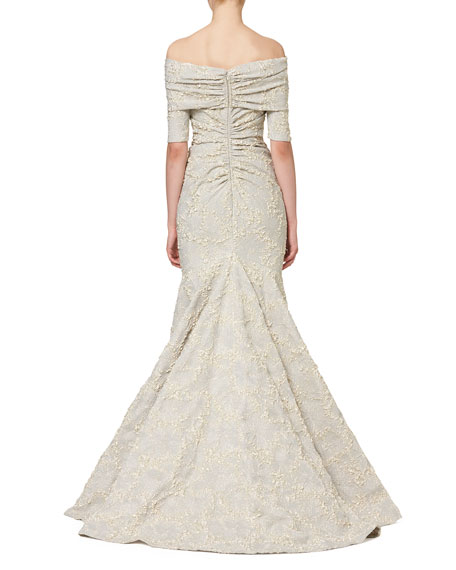 Textured Off-the-Shoulder Mermaid Gown, White Gold
