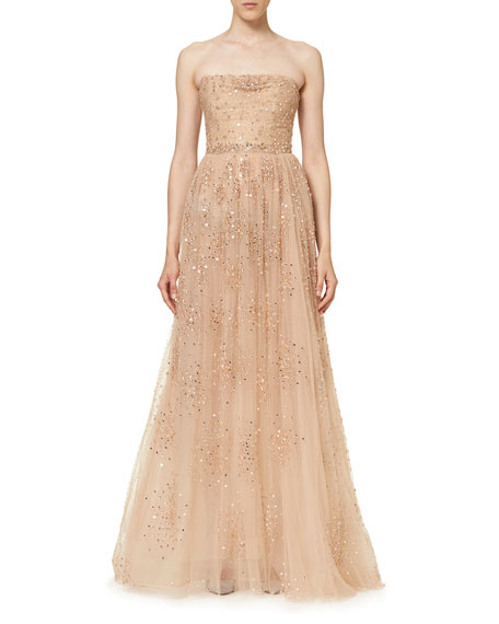 Star-Embellished Strapless Gown, Nude