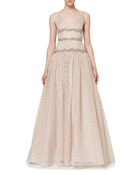Sleeveless V-Neck Crystal-Waist Gown, Rose Gold