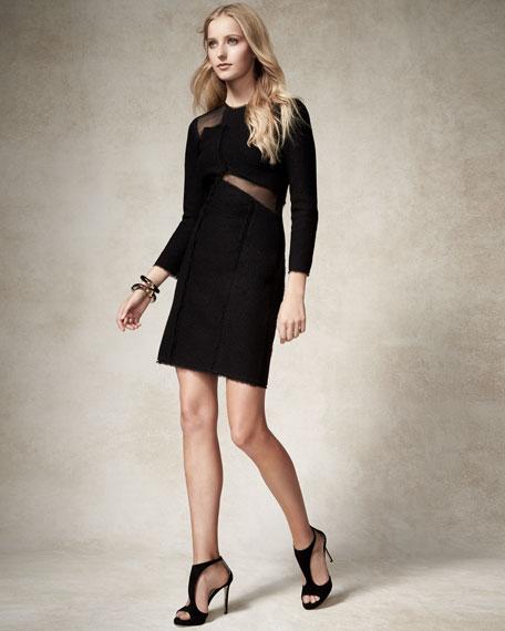 Mesh-Inset 3/4-Sleeve Sheath Dress, Black