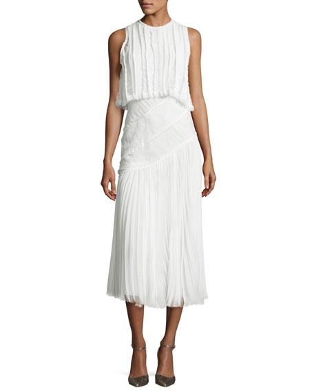 Jason Wu Pleated Chiffon Lace-Inset Dress, Chalk