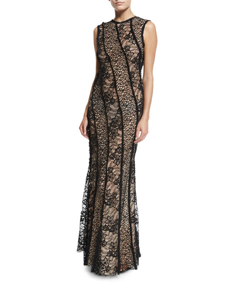 Jason Wu Sleeveless Corded Lace Gown, Black