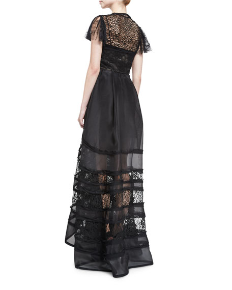 Lace-Inset Short-Sleeve Ball Gown, Black