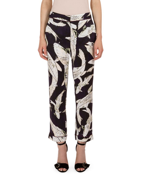 Giulia Koi Pond Cropped Cigarette Pants, Navy/Ecru