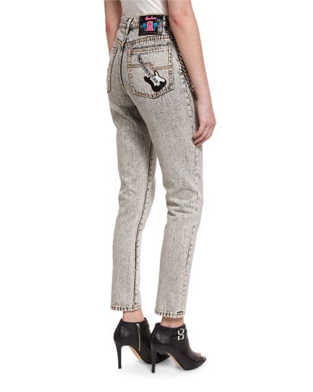 Embellished Dyed Denim Jeans, Ecru