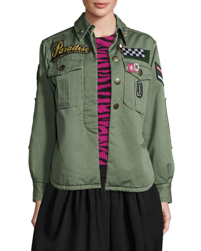 Paradise-Appliqu? Military Jacket, Military Green