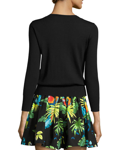 MARC JACOBS Wools PARADISE-PATCH 3/4-SLEEVE SWEATER, BLACK