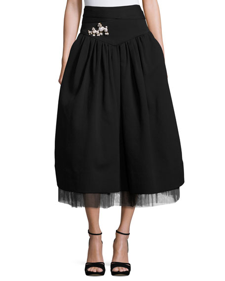 Poodle-Brooch A-Line Midi Skirt, Black