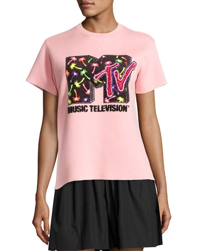Sequined MTV Short-Sleeve Sweatshirt, Powder Pink