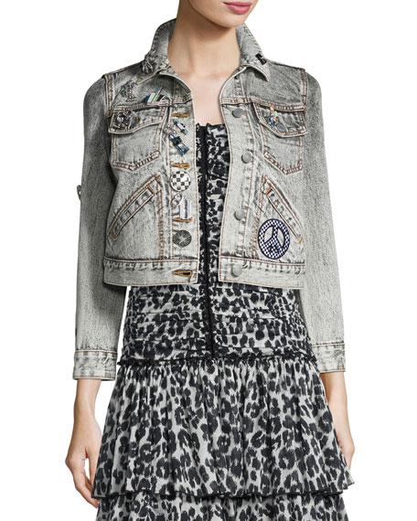 Marc Jacobs Shrunken Embellished Denim Jacket, Ecru